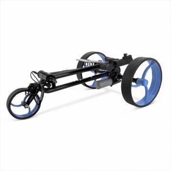 opgevouwen golftrolley zwart - blauw